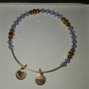 Alex and Ani purple crystal bracelet
